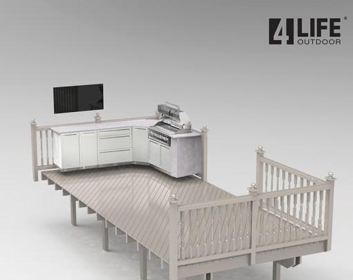 Dealer design: White 4 PC Outdoor Kitchen - 1 x 2-door Cabinet, 1 x 3drawer, 1 x BBQ Cabinet, 1 x Corner Cabinet 13