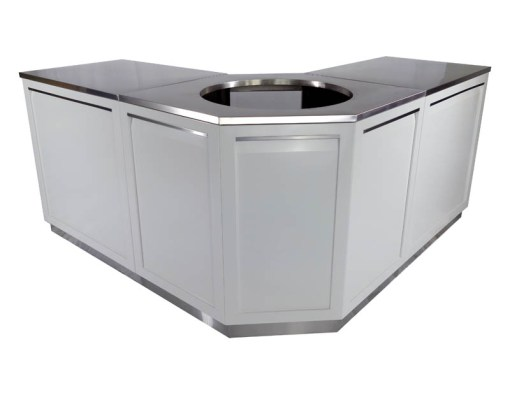 Customer Design Taylor: White 5 PC Outdoor Kitchen: 1 x 2-door Cabinet, 1 x 3 Drawer Cabinet,1xBBQ Cabinet, Corner Cabinet, 1 x 66Inch Stainless Countertop (Copy) 12
