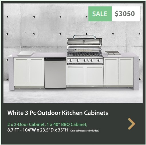 3050 4 Life Outdoor Product Image 3 PC Set White Stainless Steel Cabinets 2x2 door Cabinet, 1xBBQ Cabinet