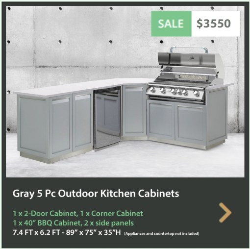 3550 4 Life Outdoor Product Image Gray 5 PC Outdoor kitchen 1 x 2 door 1 x BBQ 1 x corner 2 x side panels