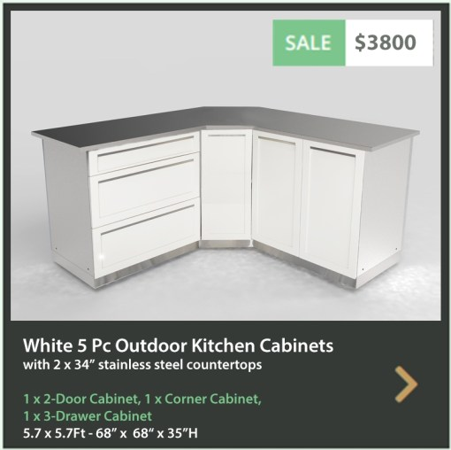 3800 4 Life Outdoor Product Image 5 PC Outdoor kitchen White 1x2-Door Cabinet 1x3-Drawer 1xCorner Cabinet 2x34 Inch Stainless Countertop