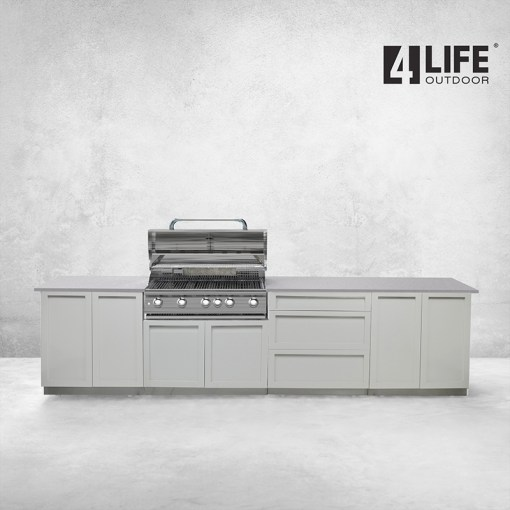 Customer order: White 4 PC Outdoor Kitchen: BBQ Grill Cabinet, 2 x 2-Door Cabinets, 3 Drawer Cabinet 9