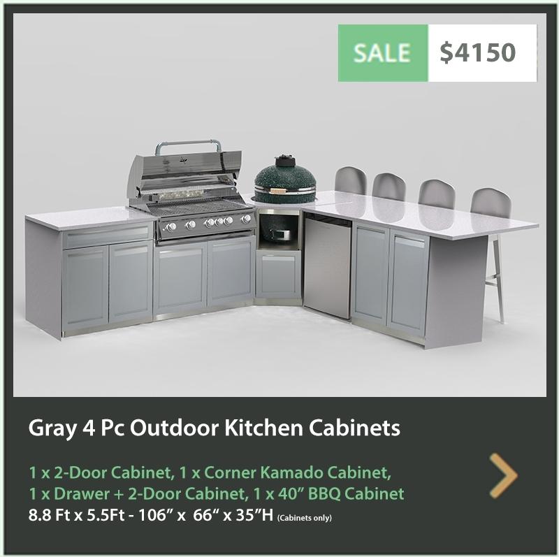 4150 4 Life Outdoor Product Image 4 PC Outdoor kitchen Gray 1x2 door 1xdrawer+2-door 1xBBQ 1xcorner kamado cabinet
