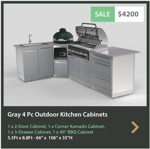"Gray Stainless Steel 4 PC Outdoor Kitchen Set: 2-Door Cabinet, 3-Drawer Cabinet, Corner Kamado Cabinet, 40"" BBQ 21"