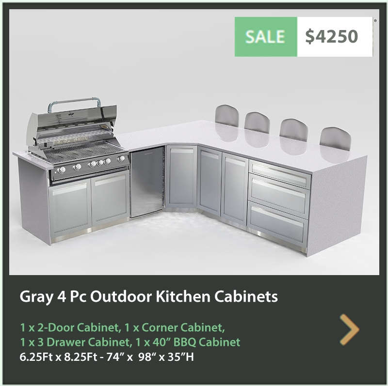 4250 4 Life Outdoor Product Image 4 PC Outdoor kitchen gray 1 x BBQ cabinet 1x Corner Cabinet 1x3-Drawer Cabinet 1 x 2-door cabinet1