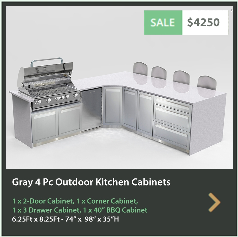 4600 4 Life Outdoor Product Image 4 PC Outdoor kitchen gray 1 x BBQ cabinet 1x Corner Cabinet 1x3-Drawer Cabinet 1 x 2-door cabinet