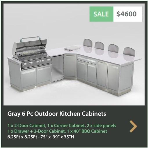 """Gray 6 PC Outdoor Kitchen: 1 x 2-door cabinet, 1 x Drawer+2-Door Cabinet, 1 x Full Door Corner Cabinet, 1 x 40"""" BBQ Cabinet, 2 x side panels 15"""