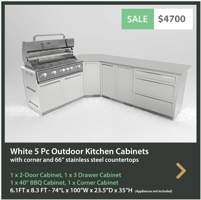 4700 4 Life Outdoor Product Image 4 PC Outdoor kitchen White 1x2-Door Cabinet 1x3-Drawer 1x Cabinet 1 x BBQ Cabinet 1 x 66 Iinch Stainless Countertops
