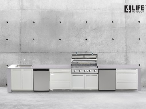 White 4 PC Outdoor Kitchen Cabinets: 1x BBQ Grill Cabinet, 2 x 3-drawer cabinets, 1 x 2-door cabinet 11