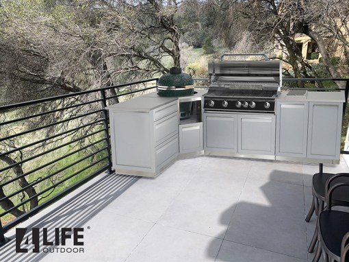 Customer Design Nevin: Gray 7 PC Outdoor Kitchen: 1 x 2-door Cabinet, 1 x 3 Drawer Cabinet,1xBBQ Cabinet, Corner Cabinet, 2 x 34Inch Stainless Countertops (Copy) 13