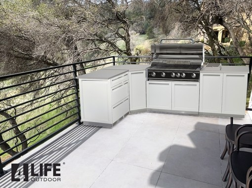 Customer Design Nevin: White 7 PC Outdoor Kitchen: 1 x 2-door Cabinet, 1 x 3 Drawer Cabinet,1xBBQ Cabinet, Corner Cabinet, 2 x 34Inch Stainless Countertops 11