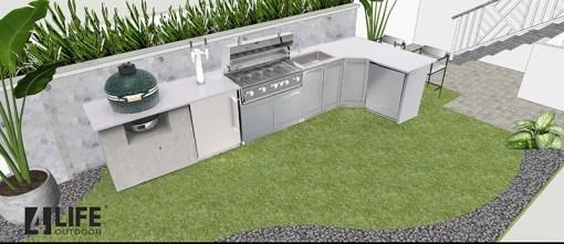 Dealer Uccontractor -Gray Stainless Steel 3 PC Outdoor Kitchen Set: 1 x 2-DoorCabinet,1xCorner Cabinet,1xBBQ Cabinet 13