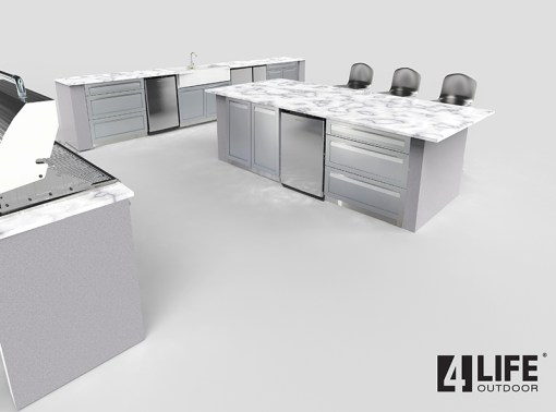 Dealer Pricing GR Renovation: Gray 10 PC Outdoor Kitchen Set: 2 x 2-Door Cabinet, 2 x 3 Drawer Cabinet, 1 x Drawer +2-Door Cabinet, 2 x BBQ Cabinet 10
