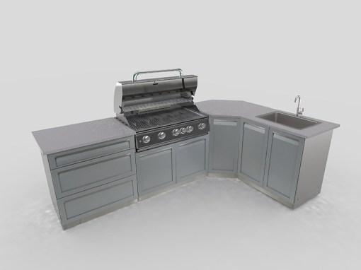 """Gray 4 PC Outdoor Kitchen: 1 x 2-door cabinet, 1 x 3 Drawer Cabinet, 1 x Full Door Corner Cabinet, 1 x 40"""" BBQ Cabinet 17"""