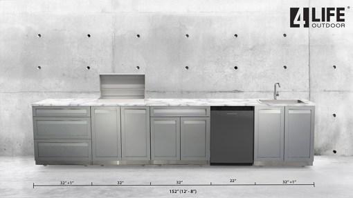 Dealer Pricing D3 Developers: Gray 4 PC Outdoor Kitchen Set: 2 x 2-Door Cabinet, 1 x 3 Drawer Cabinet, 1 x Drawer +2-Door Cabinet 9