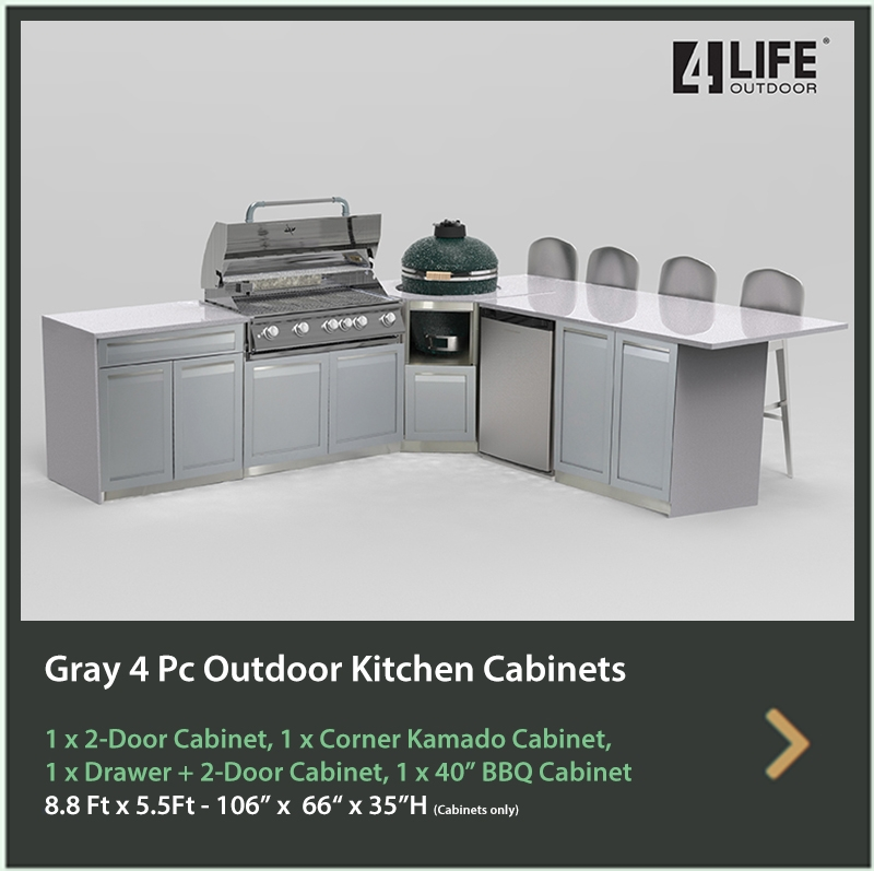 4100 4 Life Outdoor Product Image 4 PC Outdoor kitchen Gray 2x2-Door Cabinet 1 x Drawer+2-Door Cabinet, 1xBBQ