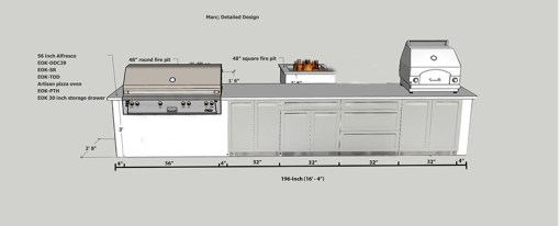 Dealer Setton: White 4 PC Outdoor Kitchen Cabinets 2 x 2-Door Cabinet, 3-Drawer Cabinet, 1 x Drawer + 2-Door Cabinet 11