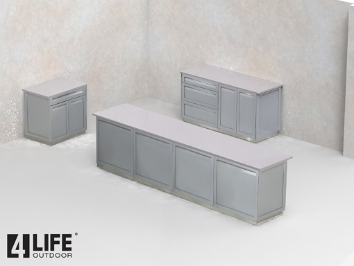 Builder design: White 17 PC Outdoor Kitchen - 5 x drawer + 2-door cabinet, 1 x 2-door Cabinet, 1 x 3drawer, 6 x side panel, 4 x back panels 7