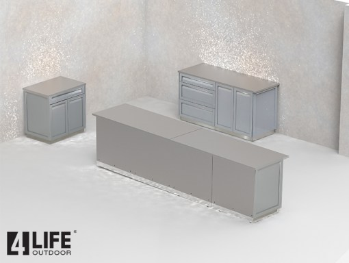 """Flash Sale: White 17 PC Outdoor Kitchen - 5 x drawer + 2-door cabinet, 1 x 2-door Cabinet, 1 x 3drawer, 6 x side panel, 1 x 34"""" and 3 x 66"""" stainless countertops 7"""