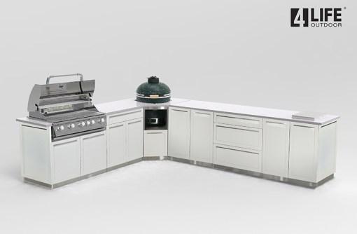 Customer Design Branting: White 8 PC Outdoor Kitchen: 2 x 2-door Cabinet, 1 x 3 Drawer Cabinet,1xBBQ Cabinet, Corner Kamado Cabinet, 2 x side panels 11