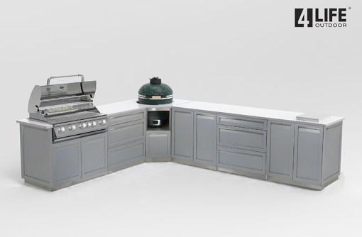 Customer Design Branting: Gray 8 PC Outdoor Kitchen: 2 x 2-door Cabinet, 2 x 3 Drawer Cabinet,1xBBQ Cabinet, Corner Kamado Cabinet, 2 x side panels 11
