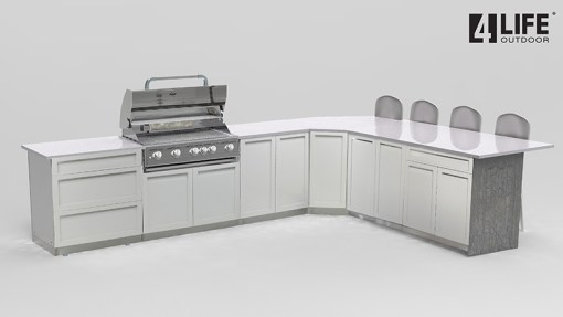 Customer Design Atchley: White 7 PC Outdoor Kitchen: 2 x 2-door Cabinet, 1 x 3 Drawer Cabinet, 1 x drawer + 2-door cabinet, 1xBBQ Cabinet, 1x Corner Cabinet 13