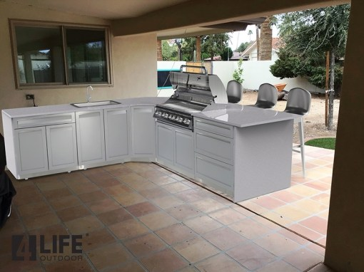 Gray Stainless Steel 5 PC Outdoor Kitchen Set: 1 x 2-DoorCabinet,1x3-DrawerCabinet,1xDrawer+2-door Cabinet,1xCorner Cabinet,1xBBQ Cabinet 21