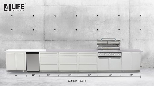 Customer design Sale: White 6 PC: BBQ Grill Cabinet, 2 x 2-Door Cabinet, 3 x 3 Drawer Cabinet 12