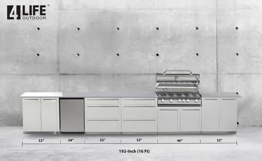 Customer design Sale: White 5 PC: BBQ Grill Cabinet, 2 x 2-Door Cabinet, 2 x 3 Drawer Cabinet 12