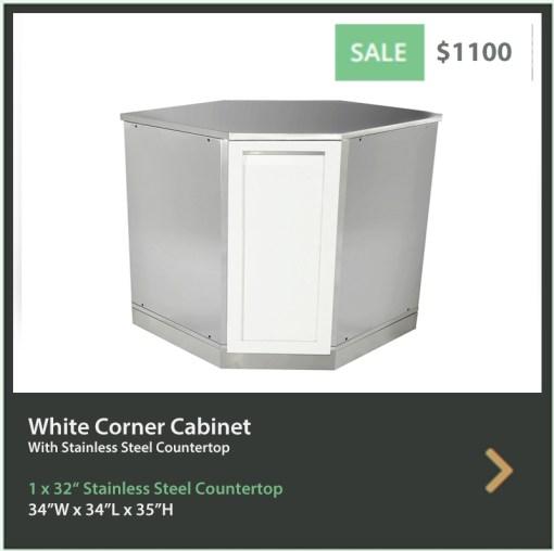 1100 4 Life Outdoor White Stainless Steel Full Door Corner Cabinet