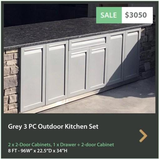 3050 4 Life Outdoor Product Image 3 PC Outdoor Kitchen Gray 2x2 Door 1xDrawer Plus 2-door