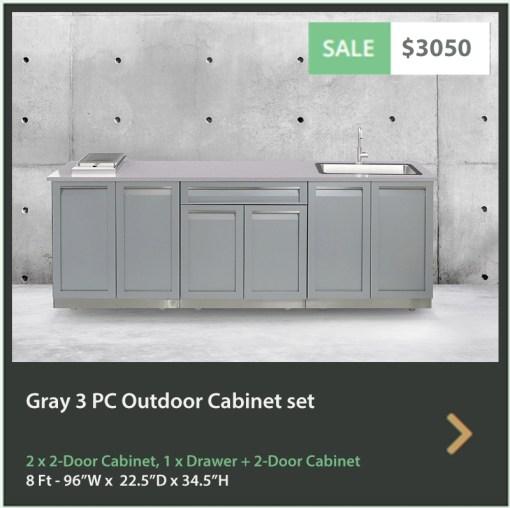 Gray 3 PC Outdoor Kitchen Cabinets 2 x 2-Door Cabinet, 1 x Drawer+2-Door Cabinet 5