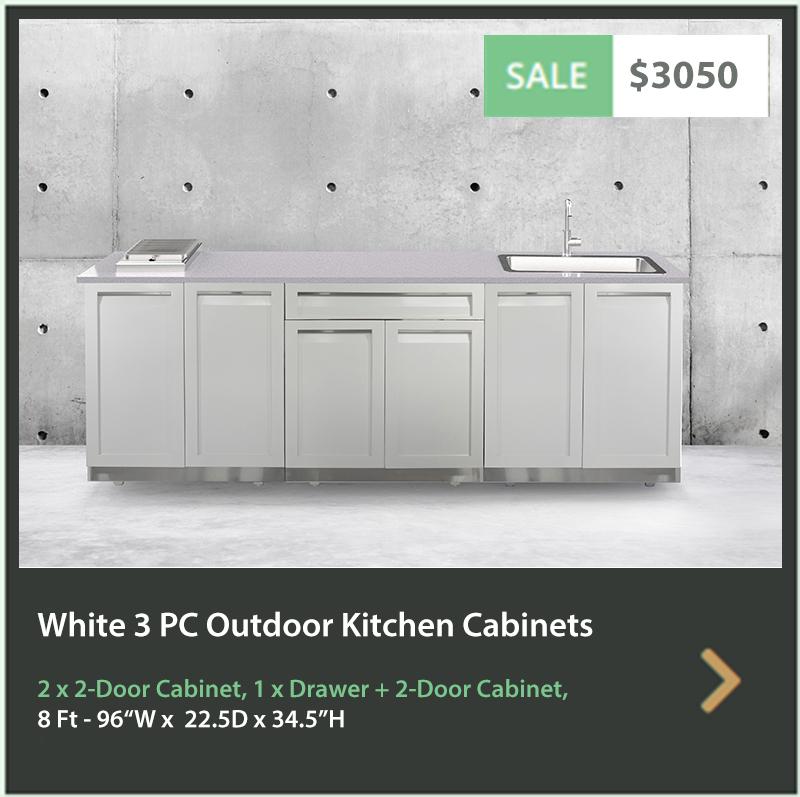 3050 4 Life Outdoor Product Image white 3 PC Outdoor Kitchen 2x2 Door 1xDrawer Plus 2-door