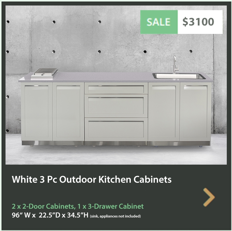 3100 4 Life Outdoor Product Image 3 PC Set White Stainless Steel Cabinets 2x2 door Cabinet, 1 x 3 Drawer Cabinet