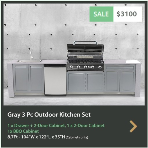 3100 4 Life Outdoor Product Image 3 PC set Gray Stainless Steel Cabinets 1 x 2 Door Cabinet 1 x BBQ Cabinet and 1 x Drawer + Drawer Cabinet R