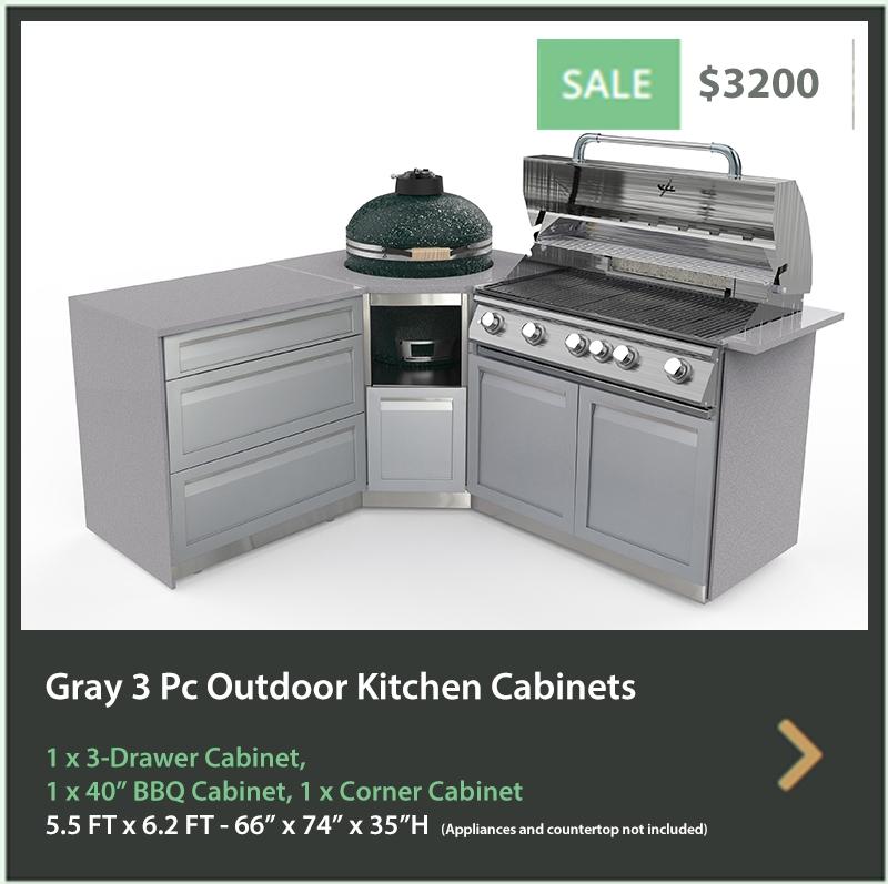 4200 4 Life Outdoor Product Image 4 PC Outdoor kitchen Gray 1x2 door 1x3drawer 1xBBQ 1xkamado cabinet
