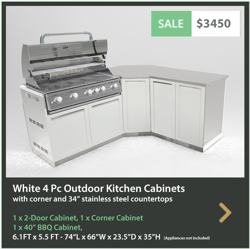 3450 4 Life Outdoor Product Image 4 PC White Outdoor kitchen 1x2-door cabinet 1xCorner Cabinet 1xBBQ cabinet 1 x 34inch stainless countertop