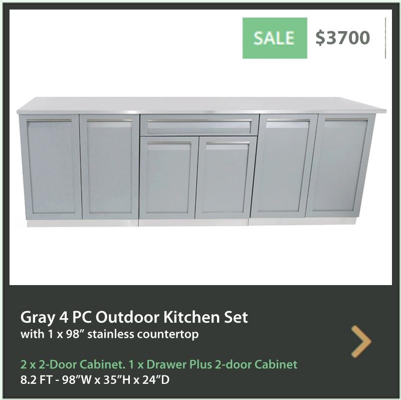 3700 4 Life Outdoor Product Image 4PC Gray Outdoor kitchen 2x2 door 1xdrawer+2door 1 x 98 inch stainless countertop