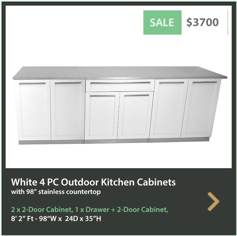 3700 4 Life Outdoor Product Image 4PC White Outdoor kitchen 2x2 door 1xdrawer+2door 1x 98 inch stainless countertop