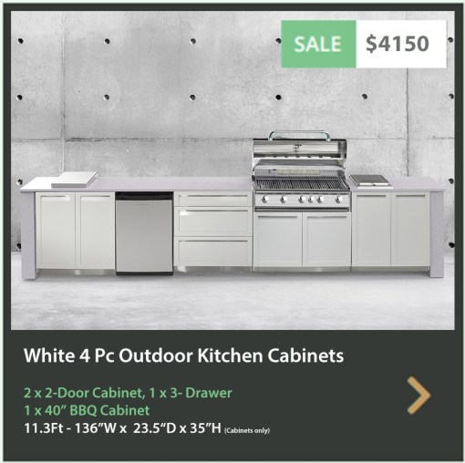 4150 4 Life Outdoor Product Image 4 PC Outdoor kitchen White 2x2-Door Cabinet 1x3-Drawer 1xBBQ