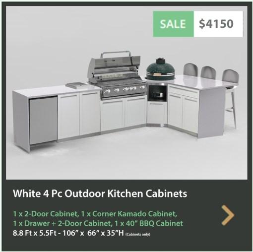 4150 4 Life Outdoor Product Image 4 PC Outdoor kitchen white 1x2 door 1xdrawer+2-door 1xBBQ 1xcorner kamado cabinet