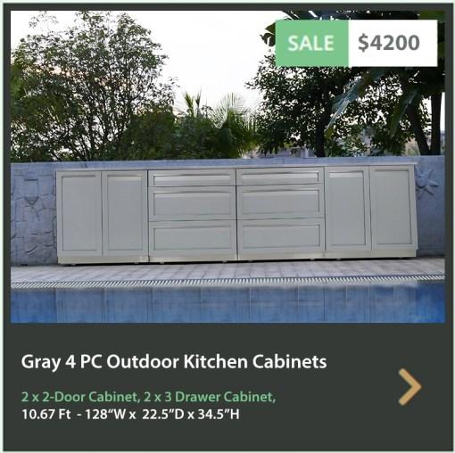 4200 4 Life Outdoor Product Image Gray 4 PC Outdoor kitchen 2 x 2 door 2 x 3 drawer