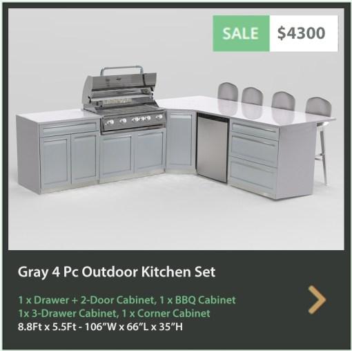 4300 4 Life Outdoor Product Image 4 PC Outdoor kitchen white 1xdrawer+2-door 1 x 3-drawer Cabinet, 1xBBQ 1xcorner cabinet