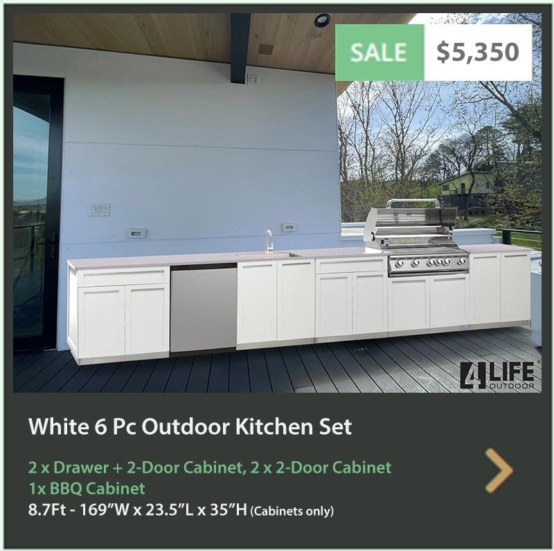 5350 4 Life Outdoor Product Image 6 PC Outdoor kitchen White 2x2-Door Cabinet 2xDrawer+2-door cabinet, 1x BBQ 1 x side panel