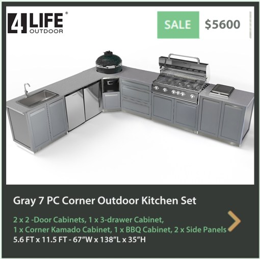 5600 4 Life Outdoor Product Image 7 PC Outdoor kitchen Gray 2x2 door 1x 3-drawer Cabinet 1xBBQ 1xcorner Kamado cabinet 2 x side panels
