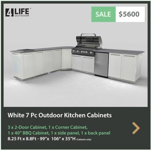 White 7 PC Outdoor Kitchen: 3 x 2-door Cabinet, 1x Corner Cabinet, 1 x BBQ Cabinet, 1 x side panel, 1 x back panel 7