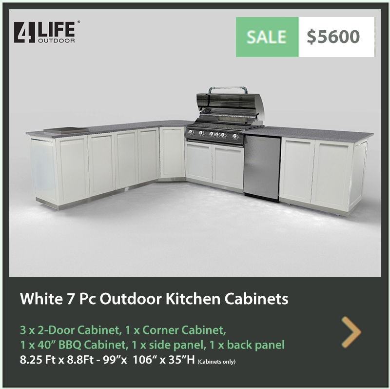 5600 4 Life Outdoor Product Image 7 PC Outdoor kitchen White 3x2-Door Cabinet 1xCorner Cabinet 1x BBQ 2 x side panels