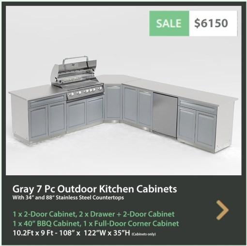 6150 4 Life Outdoor Product Image 7 PC Outdoor kitchen Gray 1x2 door 2xdrawer+2-door 1xBBQ 1xcorner cabinet 1 x 34 top 1 x 88 top