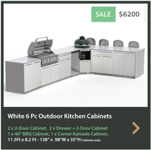 6200 4 Life Outdoor Product Image 6 PC Outdoor kitchen White 2x2-Door Cabinet 2xDrawer+2-door cabinet, 1xCorner Kamado Cabinet 1x BBQa
