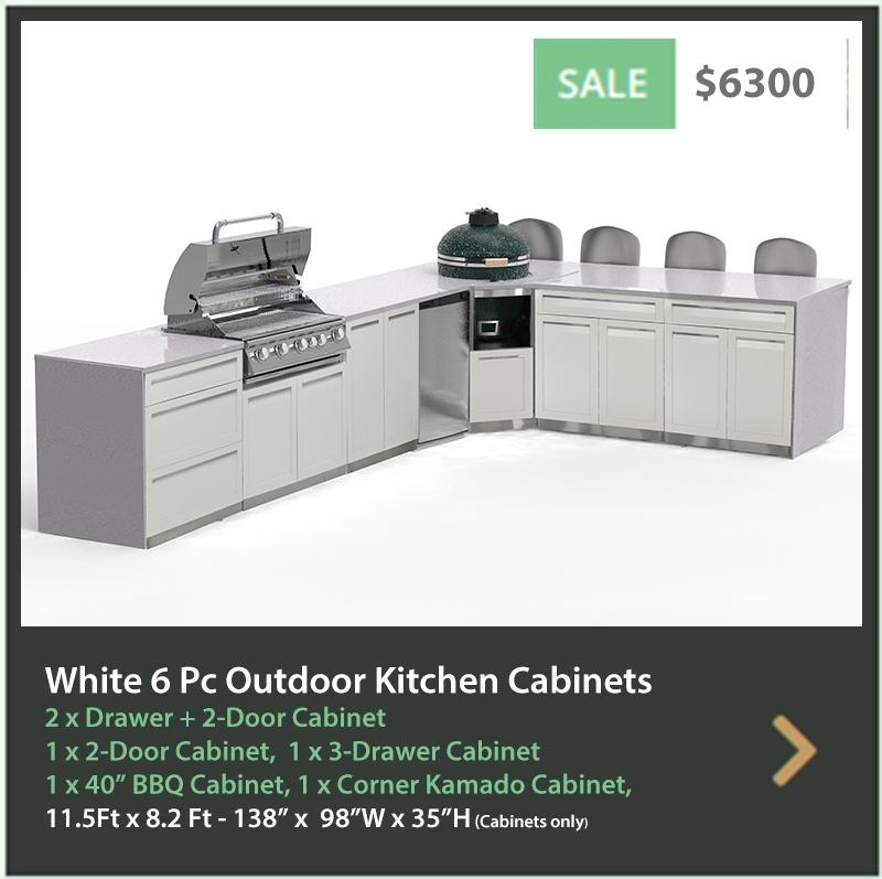 6300 4 Life Outdoor Product Image 6 PC Outdoor kitchen White 1x2-Door Cabinet 1x3-Drawer 2xDrawer+2-door cabinet, 1xCorner Kamado Cabinet 1x BBQa